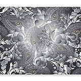 murando - Fototapete selbstklebend Ornament 441x315 cm Tapete Wandtapete Wandbilder Klebefolie Dekofolie Tapetenfolie Wand Dekoration Wohnzimmer - grau diamant Blätter f-A-0681-a-a