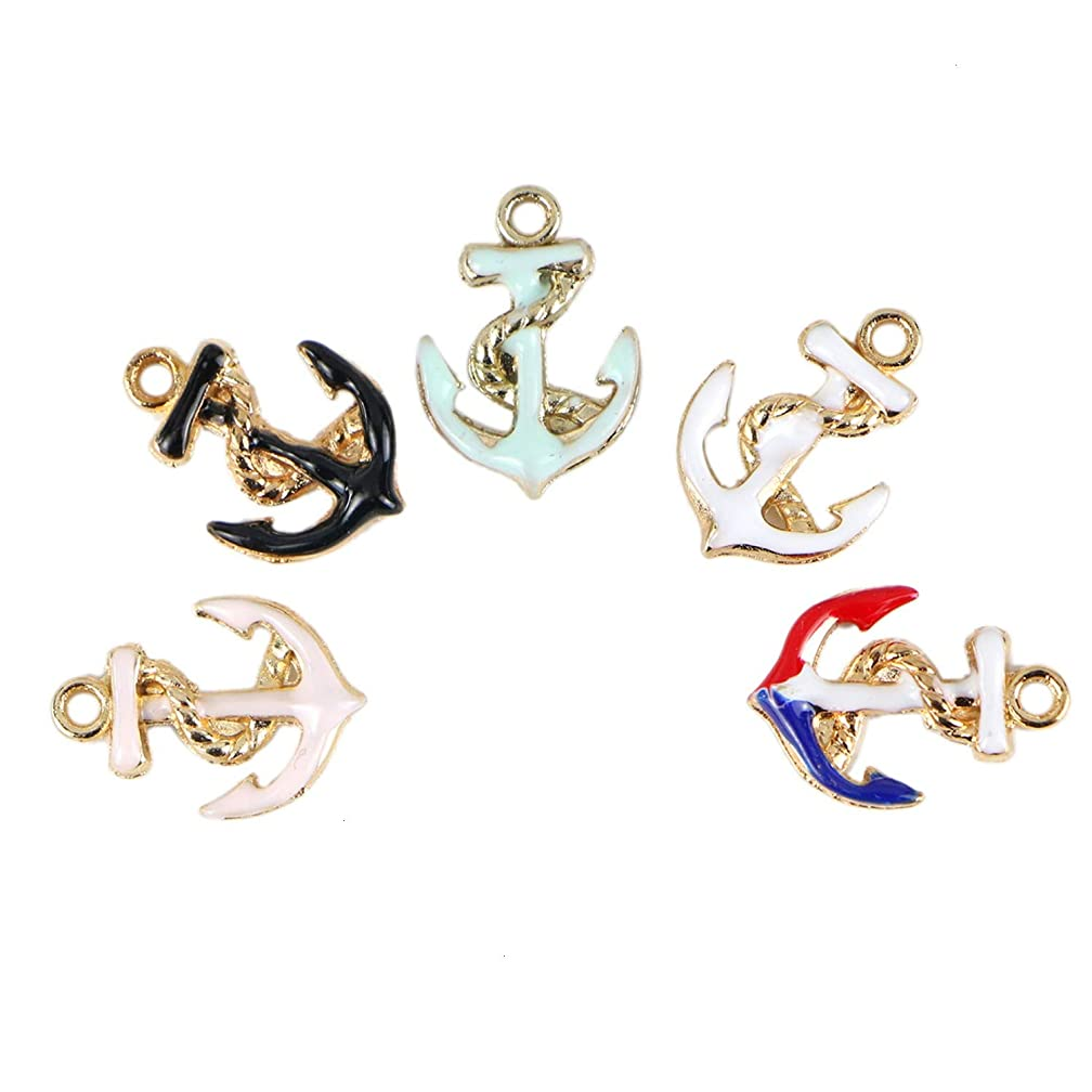 Monrocco 50Pcs Enamel Boat Ship Anchor Sign Smooth Metal Charm Pendant Bulk for Bracelets Jewelry Making