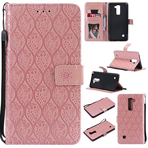Lomogo LG Stylus 2 Hülle Leder, Schutzhülle Brieftasche mit Kartenfach Klappbar Magnetverschluss Stoßfest Kratzfest Handyhülle Case für LG Stylus2 (K520) - LOYYO23360 Rosa Gold