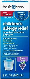 Basic Care Children's Allergy Relief, Loratadine Oral Solution 5 mg/5 mL, Antihistamine, 8 Ounces