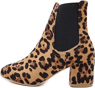 88031118 Dedo del pie Desnudo Botas Redondo Atractivo del Medio Grueso del Leopardo  del talón de la