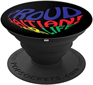 Proud Haitian American I Love Haiti Heart Souvenir Gift Idea PopSockets Grip and Stand for Phones and Tablets