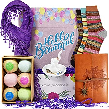 VINAKAS Birthday Gift Baskets for Women - Includes Journal for Women Ring Holders for Jewelry Bubble Bath for Women Warm Socks and Womens Scarves for Wife Friend Aunt Sister Daughter