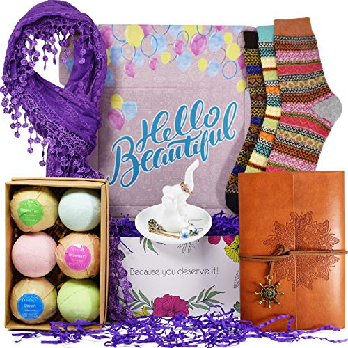VINAKAS Birthday Gift Baskets for Women - Includes Journal for Women, Ring Holders for Jewelry, Bubble Bath for Women, Warm Socks, and Womens Scarves for Wife, Friend, Aunt, Sister, Daughter