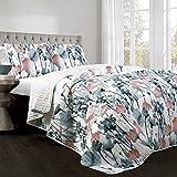 Lush Decor Zuri Flora Quilt-Colorful Painted Flower Design Reversible 3 Piece Bedding Set-King-Blue and Coral, Blue & Coral