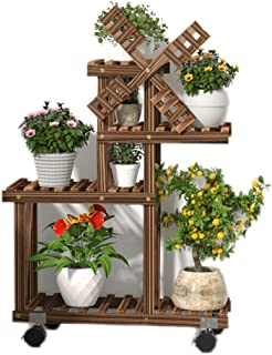 RomanticDesign 4 Tiers Wooden Plant Stand,Flower Pot Plant Holder Display Rack with Wheel,Windmill Flower Storage Rack for Home Garden Patio