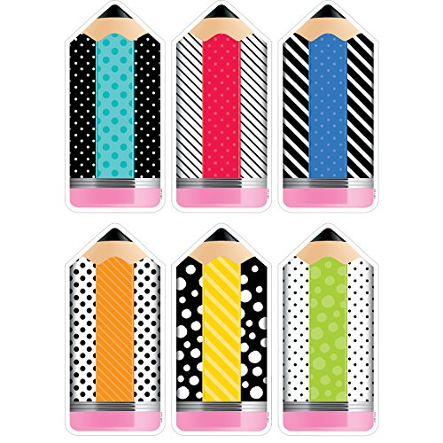 Creative Teaching Press Bold & Bright Striped & Spotted Pencils 6'Designer Cut-Outs (Accent for Calendars, Bulletin Boards, Rooms, Hallways, Learning Spaces and Other Classrooms Displays) (3283)