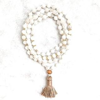 Zoya Gems & Jewellery Moonstone Mala Necklace | 6mm Mala Beads Necklace | Mala Beads 108 | Japa Mala | Knotted Mala | Bead...