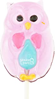 Colorful Owl Lollipops Handmade in USA Lollipops 12 Pieces, Watermelon Flavor, by Sparko Sweets