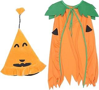 Amosfun ハロウィン子供カボチャマント帽子ハロウィンカボチャマントパーティードレスアップ衣装2ピース