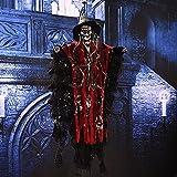 Esqueleto de Halloween, decoraciones de Halloween Ghost, con ojos rojos, Animatronics de Halloween, Decoración de esqueleto, Accesorios de esqueleto de miedo para la pared de la ventana y el patio de