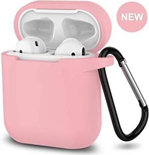 AirPods Case,SATLITOG Protective Silicone Cover Compatible with Apple AirPods 2 and 1(Not for Wireless Charging Case)(Pink)