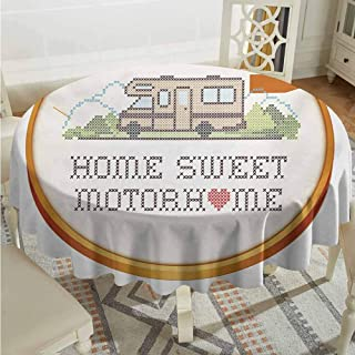 Overlays Round Tablecloth Home Sweet Home Embroidery Hoop Cross Stitch Needlework Sewing Design Trailer Home Print Multicolor Jacquard Tablecloth Diameter 70