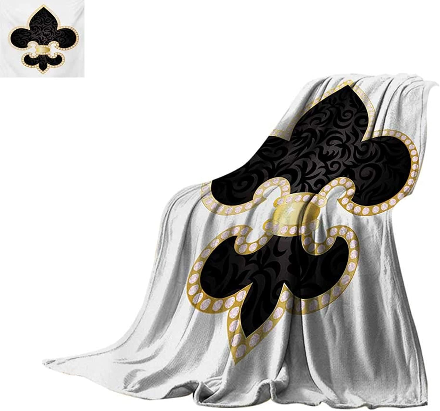 Fleur De Lis Weave Pattern Blanket Royal Legend Lily Throne France Empire Family Insignia Design Image Summer Quilt Comforter 60 x50  Yellow Black White