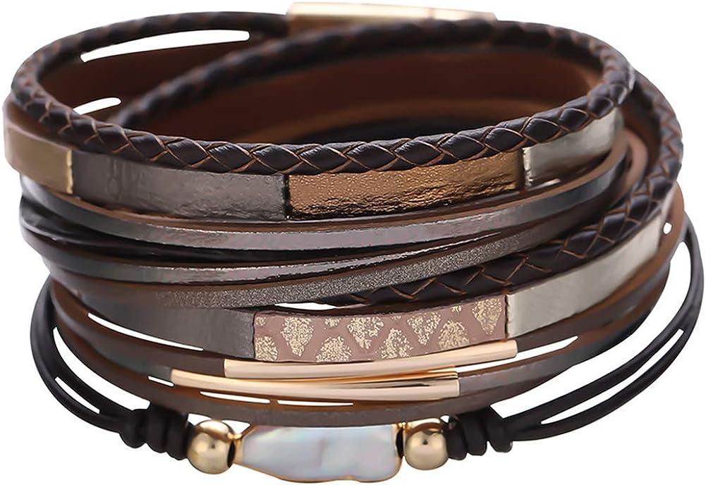AZORA Leather Wrap Bracelet for Women Baroque Pearl Gold Tone Tube Cuff Bracelets Leopard Print Casual Leather Wrist Bracelets for Girls Teens Gift