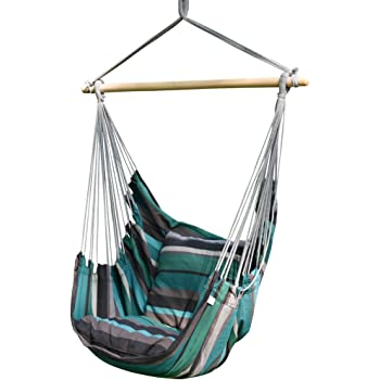 Amazon Com Toucan Outdoor Hanging Rope Chair Hammock Swing Chair With Pillow Set Rainbow Garden Outdoor