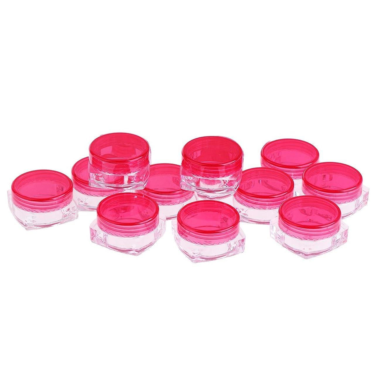 新しい意味階段イチゴBaosity 5g クリームケース 化粧品用 詰め替えボトル 小分けボトル 化粧品 収納 携帯用 旅行小物 12個入り 全5色 - ローズ
