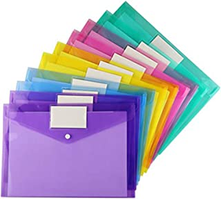 20 Pack Plastic Envelopes Poly Envelopes, Sooez Clear Document Folders US Letter A4 Size File Envelopes with Label Pocket ...