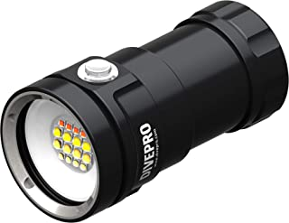 DIVEPRO D80F 8000Lumen Multi-Color LED Red Yellow UV Light Underwater 100M Video Photography Diving Torch