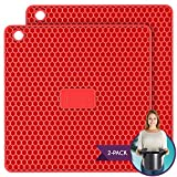 PratiPad Plus 4-in-1 Multipurpose Silicone Pot Holders, Trivets, Jar Openers, Spoon Rests - Extra Thick Protection - Set of 2 - Red