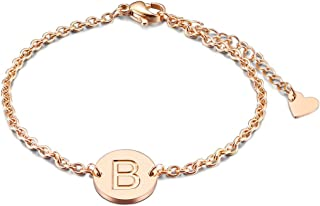 Rose Gold/Silver Tone Initial Bracelet 316L Stainless Steel Disc Pendant Letter Alphabet(6.5