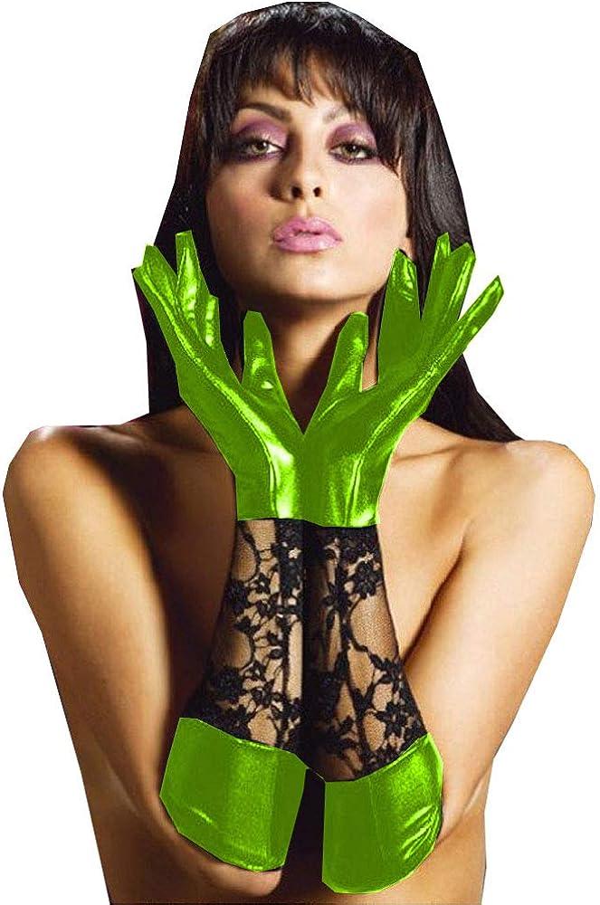 Fetish Queen 5XL 6XL Women Five Fingers Gloves Black Lace Patchwork Long Gloves