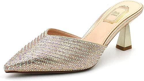 Gold Pailletten Gold Pulver High Heel Hausschuhe Frauen tragen Stiletto 2019 Neue Sommer Coole Hausschuhe