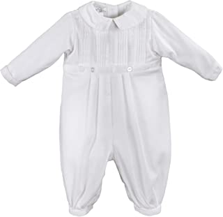 Petit Ami Baby Boys' Pique Christening Longall with Hat, White
