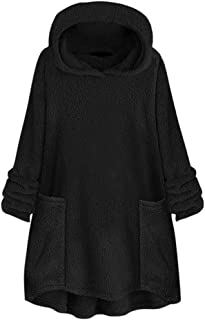 Womens Hooded Pure Color Collar Pocket Hat Woolen Sweater Tops Hoodie