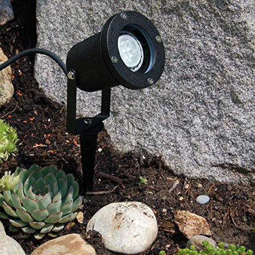 Erdspießleuchte, Außenstrahler mit Erdspieß, schwarz, 2,5 mtr. Zuleitung, Gartenstrahler, Spot, Aluminiumgehäuse, GU10
