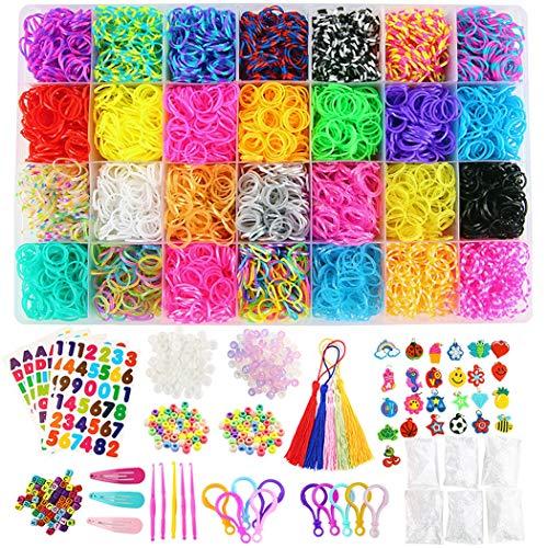 WENMWRainbow Rubber Bands Armband Maken Kit 600 Bevestiging Clips, 200 Kralen, 52 Letter kralen, 54 amuletten, 10 Sleutelhangers, 5 haak haken, 5 kwast, 25 hangers en 5 Stickers, 3 Haarspelden Kleur