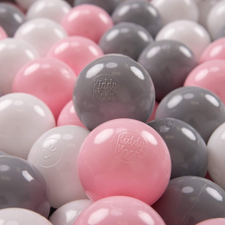 KiddyMoon 100 ∅ 7Cm Bolas Colores De Plástico para Piscina Certificadas para Niños, Blanco/Gris/Rosa Claro