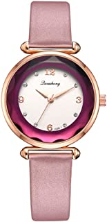 Stylish watch Women's Watch Quartz Wrist Watch with Gem Cut Round Dial and Leather Strap for Elegant Female,Black Watch (Color : Pink)