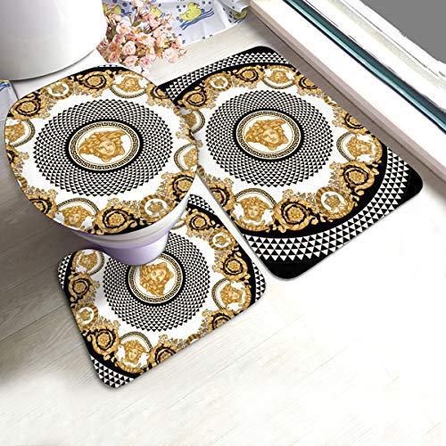 Rutschfestes Badematten-Set, 3-teilig, mit Badezimmerteppich, WC-Vorleger, WC-Bezug, 61 x 90 cm, goldfarbenes Barock-Mandala im Retro-Stil mit Medusa-Kopf