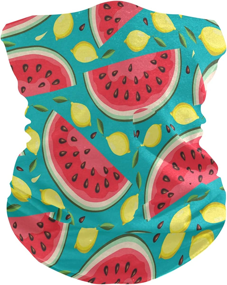 ALAZA Summer Watermelon Slice Lemon Headwear Magic Scarf Headband Bandana Neck Gaiters Outdoor Sports for Women Man