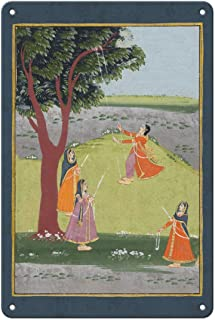 Pacifica Island Art 8in x 12in Vintage Tin Sign - Gujarat, India - Lord Krishna's Consorts on Swings - Vintage Indian Miniature Painting c.1800's