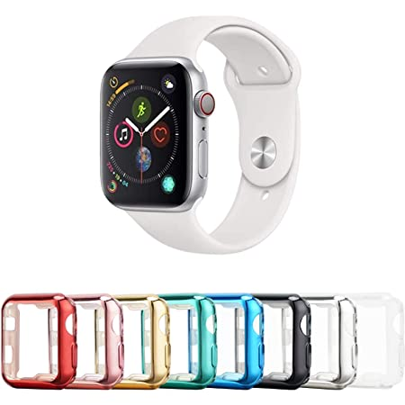 Tranesca 8 Pack 38mm Screen Protector Case Compatible with Apple Watch Series 3/2/1 with Built-in HD Clear Ultra-Thin TPU Screen Protector Cover - (Clear+Black+Gold+Rose Gold+Red+Blue+Green+Silver)