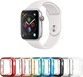 Tranesca 8 Pack 40mm Apple Watch case with Built-in HD Clear Ultra-Thin TPU Screen Protector Cover Compatible with Apple Watch Series 4/5/6/SE (Clear+Black+Gold+Rose Gold+Red+Blue+Green+Silver)