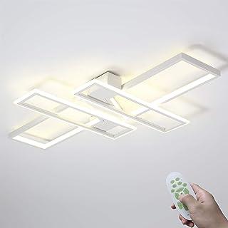 Moderno LED Lámpara De Dormitorio Comedor Luz De Techo 85W Regulable Lámpara De Sala Rectangular Diseño Iluminación Interior Lámpara De Techo Metal Acrílico Con Control Remoto 3000K-6000K