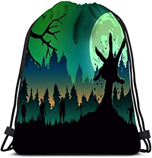 Drawstring Backpack Silhouette Zombie Arm Reaching Out From Ground In Full Moon Night Ideal For Nightclub Poster Green Laundry Bag Gym Yoga Bag