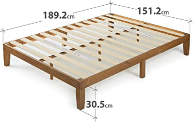 Zinus Platform Bed King Pin en Bois Rustique Couleur Oak 30,5 cm