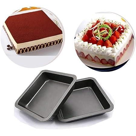 Suny Smiling Lot de 2 moules à gâteau carrés de 20,3 cm, antiadhésifs, en acier au carbone pour gâteaux, pain, pizza