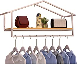 LIANGJUN Wall-mounted Storage Floating Shelves Wrought Iron Solid Wood Board Storage Children's Clothing Store Shelf Show ...