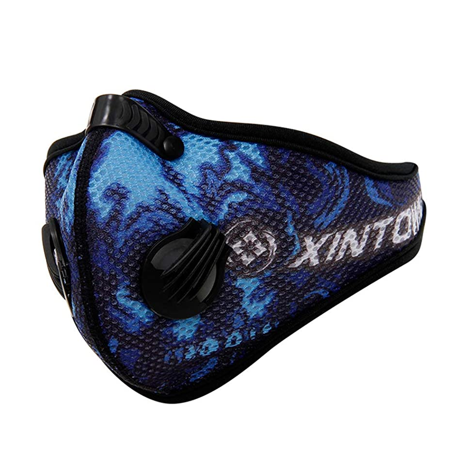 Aland- Activated Carbon Dust-proof Anti-fog Soft Warm Cycling Sports Face Mask - Printed Blue