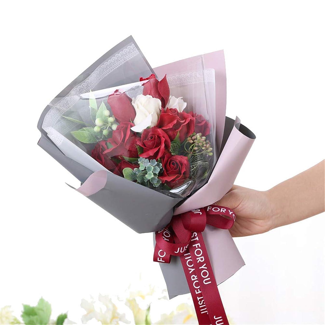 稼ぐ順番ボックス手作りのバラ石鹸フラワーブーケのギフトボックス、女性のためのギフトバレンタインデー、母の日、結婚式、クリスマス、誕生日を愛した女の子 (色 : 赤)