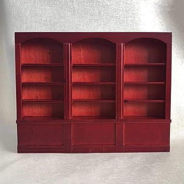 Miniature Dollhouse Storage Shelf Storage Organizer Display Cabinet Shelf Bookcase Doll House for Dollhouse(Red Brown)