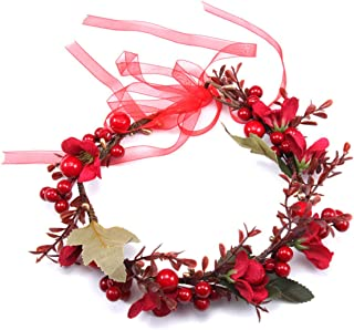Girl Christmas Flower Crown Boho Floral Headbands Hair Wreath Halo with Red Berry Pine Cone Crown Forest Woodland Wedding Headband (Set Red)