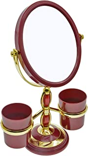 PENCK Cosmetic Mirror Oval Shaped Double Sided Mirrors, 1X/2X Magnifying Makeup Mirror with Two Brush Holders for Women Gi...