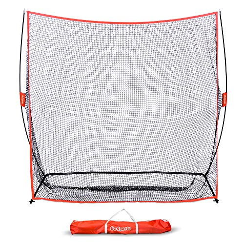 GoSports Golf Practice Hitting Net | Huge 7' x 7' Personal Driving Range for Indoor or Outdoor Swing Practice | Designed by Golfers for Golfers, Red