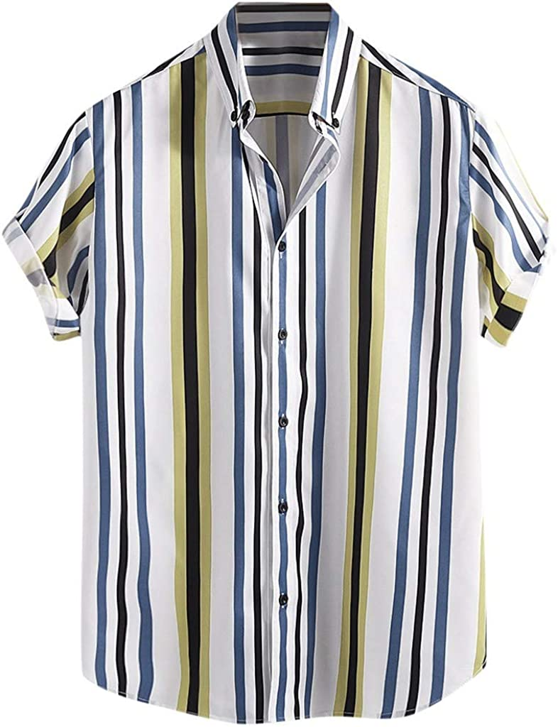 MODOQO Men's Shirt-Summer Fashion Striped Printed Turn Down Collar Plus Size Tees